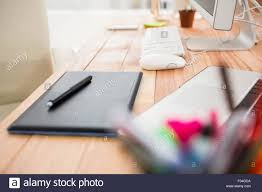 close up view of digitizer on creative working desk stock photo