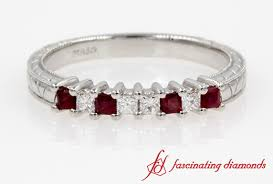ruby band vintage princess cut diamond with ruby band in white gold