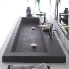 trough sink two faucets the best modern trough sink instead of double vanities be do wall
