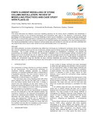 finite element modelling of stone column installation review of
