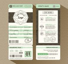invitation card design template for event hipster design boarding pass ticket event invitation card vector