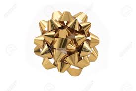 gold gift wrap a horizontal color photo of a gold gift wrap bow isolated