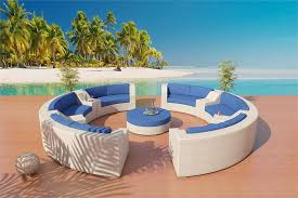 White Patio Cushions by Round Sofa Sectional Patio Furniture Set 5