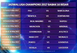 Jadwal Liga Chion Zaluker Jadwal Liga Chions 2017 Babak 16 Besar