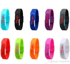 bracelet watches led images Men women digital ultra thin touch screen watch jelly led sports jpg