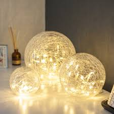 Ball Light Fixture by Set Of 3 Crackled Glass Warm White Led Fairy Light Balls By
