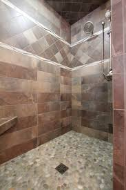 Bathroom Border Ideas by Pebble Tile Floor 6x24 Porcelain Wall Tile With Wave Listello And