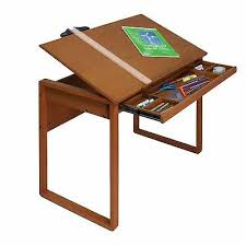 Wooden Drafting Table Solid Wood Drafting Table Drawer Adjustable Desk Artist Design
