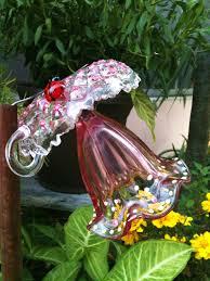 Glass Garden Decor Garden Decor Glass Plate Flower For Your Winter Garden In Pink
