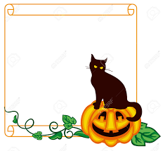 halloween background vertical free paper scroll background and a black cat sitting up on the