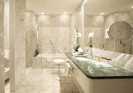 luxury bathroom style with white marble wall along with gray