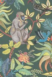 monkey wallpaper for walls savuti by cole son dark petrol multi wallpaper direct
