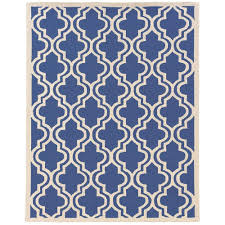 linon home decor silhouette quatrefoil navy and white 8 ft x 10