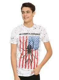 Black Flag Everything Went Black T Shirt My Chemical Romance Splatter Spider Flag T Shirt Topic