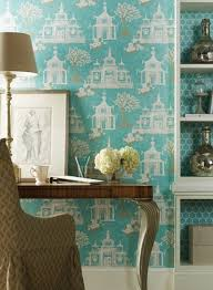turquoise pagoda wallpaper french den library office york