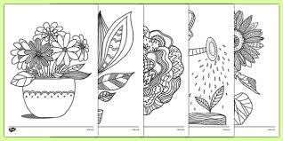 plants growth themed mindfulness colouring sheets plants