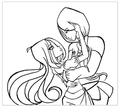 coloring page elf and witch