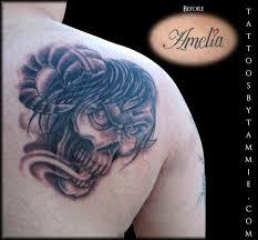 devil skull cover up tattoos