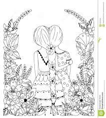 vector illustration zentangl friend in a flower frame doodle