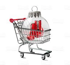 shopping cart with a boxing glove in a ornament stock