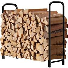 amazon com 4ft outdoor firewood log rack for fireplace heavy duty