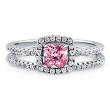Halo Cushion Engagement Rings Sterling Silver Cushion Pink Cubic Zirconia Cz Halo Engagement