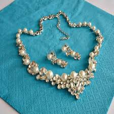 bridal jewelry pearl rhinestone bridal jewelry set wedding jewelry set pearl