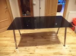 ikea galant glass desk table with smoked black glass top office study computer dining table