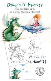 dragon u0026 princess free printable card colouring page and drawing