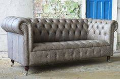 Grey Leather Chesterfield Sofa Kensington Buttoned Tufted Seat Chesterfield 3 Seater Sofa In