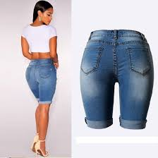new knee length denim shorts women vintage short jeans ripped