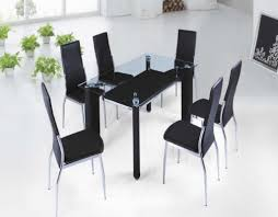 Black Glass Dining Table And Chairs Dining Room Glazed Wall Design For Modern Dining Room Decor