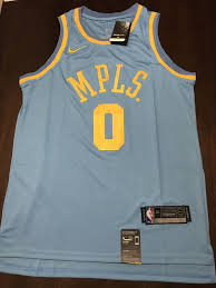 new kyle kuzma la lakers blue mpls special rare nike jersey for