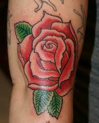 green leafs n red rose tattoo design real photo pictures images