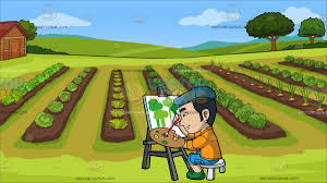 jeep painting canvas an asian guy painting trees on canvas at a vegetable garden