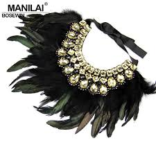 aliexpress collar necklace images Indian design maxi jewelry exaggerate black feather statement jpg
