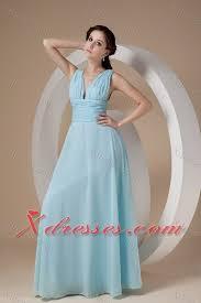 Light Blue Chiffon Dress Light Blue Empire V Neck Floor Length Chiffon Ruch Prom Dress