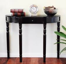 Narrow Wall Table by Glossy Black Wooden Half Moon Console Table With Small Drawer