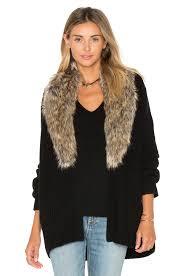 sweater with faux fur collar joie evina faux fur collar cardigan in caviar revolve