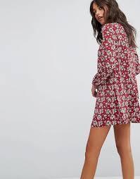 glamorous glamorous long sleeve shirt dress in vintage floral