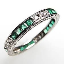 cleopatra wedding ring vintage wedding band ring eternity style emerald diamond