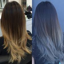 Gray Blue Color - formula blue gray sombre hair color modern salon