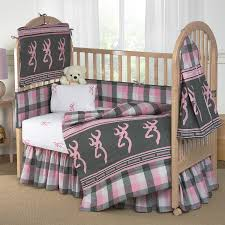 Plain Crib Bedding Portable Mossy Oak Crib With Grey And Pink Plaid Bedding Theme Set