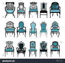 vintage chair furniture set collection vector stock vector