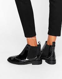 womens boots uk asos asos andele leather studded chelsea boots black box leather