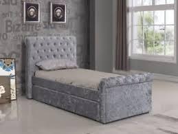 Velvet Bed Frame 3ft Single Crushed Velvet Fabric Bed Frame Selina Silver With