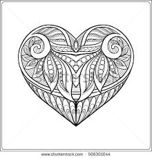 decorative patterned love heart stock line stock vector 508301044