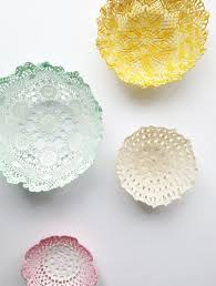 diy room decor lace doily bowls apartment therapy