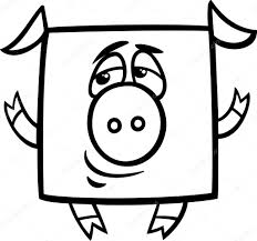 square pig cartoon coloring page u2014 stock vector izakowski 45275759