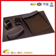 tapis de bureau personnalisé 5 pièces faux en cuir bureau ensemble espresso bureau brun tapis